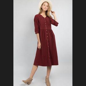 Dresses & Skirts - Burgundy Red Corduroy-like  Button-Down Dress